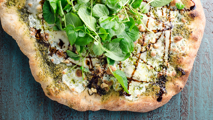 Watercress Pesto Pizza With Blue Cheese And Balsamic Glaze Recipe
